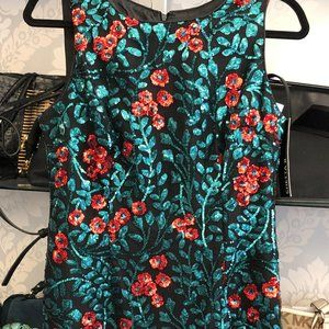 CHETTA B Red & Green Sequin Black Mesh Dress